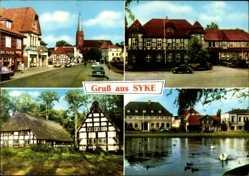 Postcard Syke, Straßenpartie, Christuskirche, Mühlenteich, Heimatmuseum, Schwäne
