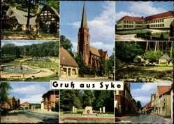 Postcard Syke, Christuskirche, Schweimmbad, Hauptstraße, Ehrenmal, Kreisberufsschule