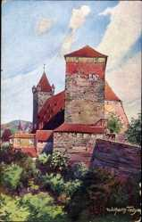 Künstler Ak Nürnburg, Fünfeckiger Turm, Brüstungsmauer