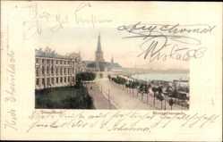 Postcard Düsseldorf am Rhein, Rheinpromenade, Kirchturm, Dampfschiff