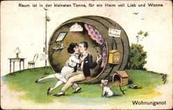 Künstler Ak Scheuermann, Willi, Wohnungsnot, Liebespaar, Villa Röschen
