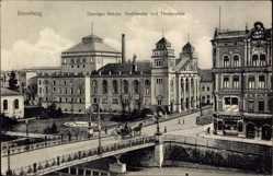 Ak Bydgoszcz Bromberg Westpreußen, Danziger Brücke, Stadttheater, Theaterplatz