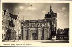 Ak Gdańsk Danzig, Hohes Tor und Stockturm, Straßenbahn, Reiterdenkmal