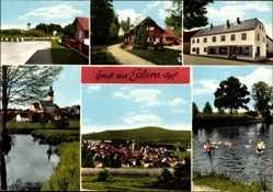 Postcard Eslarn in der Oberpfalz Bayern, Geschäft, Badende im Fluss, Kirche