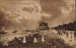 Postcard Bremerhaven Niedersachsen, Blick auf die Strandpromenade
