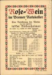 Postcard Hansestadt Bremen, Rose Wein im Bremer Ratskeller, Berechnung