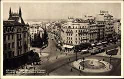 Postcard Belgrad Serbien, Hotel Balkan, Vogelschau, Platz, Straßenverkehr