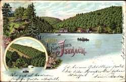 Litho Bad Dürkheim am Pfälzerwald, Forsthaus Isenach mit See