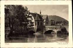 Postcard Calw im Nordschwarzwald, Nikolauskapelle mit Brücke über Nagold