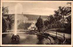 Ak Polanica Zdrój Bad Altheide Schlesien, Springbrunnen, Weg, Kurpark