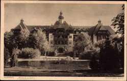 Ak Polanica Zdrój Bad Altheide Schlesien, Blick auf das Kurhaus, Teich