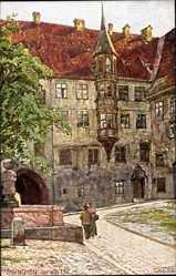 Künstler Ak Wagner, Richard, München Bayern, Der alte Hof, Erker