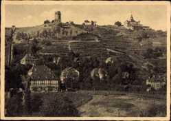 Ansichtskarte / Postkarte Radebeul Sachsen, Blick auf den Ort, Bismarckturm, Felder, Fachwerkhaus