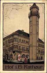 Steindruck Ak Hof an der Saale Oberfranken Bayern, Blick auf das Rathaus