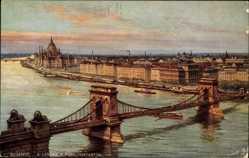 Künstler Ak Budapest Ungarn, A Lanchid a Rudolfrakparttal, Brücke, Fluss