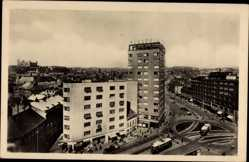 Postcard Poszony Pressburg Bratislava Slowakei, Hochhaus, Straßenbahnen