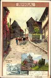 Künstler Litho Stagura, Albert, Ruhla in Westthüringen, Straßenpartie, Kuhherde