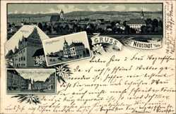 Litho Neustadt an der Orla, Bahnhofstraße, Rathaus, Marktplatz, Kriegerdenkmal