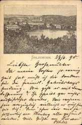 Vorläufer Litho Bad Salzungen im Wartburgkreis, Blick auf den Ort, 1890