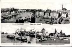 Ak Szczecin Stettin Pommern, Blick zur Maumbrücke, Totale, Hakenterrasse