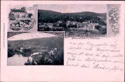 Postcard Frauensee Thüringen, Sommerfrische, Stadtansicht, Flusspartie, Oberförsterei