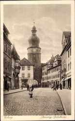 Postcard Coburg, Steinweg, Spitalturm, August Sturms Nacht, Inh. T. Gruner, Straße