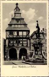 Postcard Gießen an der Lahn Hessen, Marktplatz mit Rathaus, Brunnen, Passanten