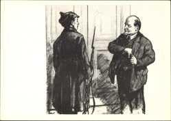 Künstler Ak H. H. Zhukov, Lenin mit einem Soldaten vor einer Tür