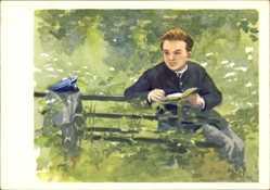 Künstler Ak H. H. Zhukov, Jugendbildnis von Lenin ein Buch lesend, Uljanowsk