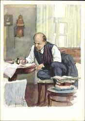 Künstler Ak H. H. Zhukov, Wladimir Iljitsch Lenin am Schreibtisch, Bücher