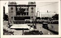 Foto Ak Belgrad Serbien, Place Prince Michel, Prinz Michael, Reiterdenkmal, Bus