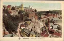 Postcard Luxemburg, Faubourg du Grund et Ville Haute, Blick auf den Ort