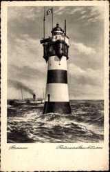 Postcard Hansestadt Bremen, Rotesandleuchtturm, Fährschiff