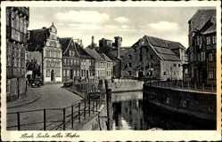 Postcard Stade, Blick in den alten Hafen, Straßenpartie, Gebäude, Fachwerk