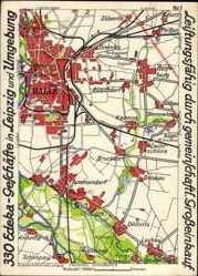 Postcard Halle an der Saale, Büschdorf, Edeka, Zöberitz, Döllnitz, Lochau, Ammendorf