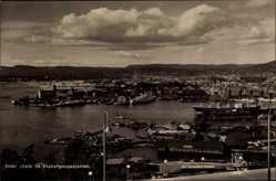 Postcard Christiania Oslo Norwegen, Utsikt fra Ekebergrestauranten, Hafen