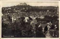 Postcard Coburg in Oberfranken, Blick auf den Ort mit der Veste, Kirchturm