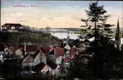 Postcard Lauenburg an der Elbe, Totalansicht vom Ort, Fluss, Brücke, Kirchturm
