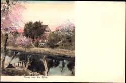 Postcard Lühe Jork im Kreis Stade, Serie Doppelton, Haus am Wasser gelegen