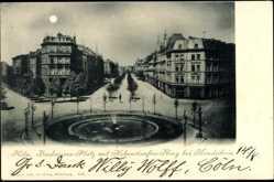 Mondschein Ak Köln am Rhein, Barbarossa Platz mit Hohenstaufen Ring