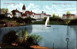 Postcard Frankfurt am Main, Hohenzollernplatz Partie, Wasserfontäne, Häuser