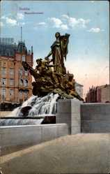 Ak Szczecin Stettin Pommern, Ansicht vom Manzelbrunnen