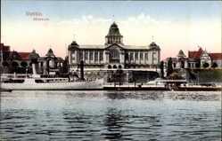 Ak Szczecin Stettin Pommern, Blick vom Wasser auf das Museum