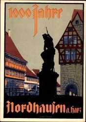 Steindruck Ak Nordhausen an der Zorge Thüringen, 1000 Jahre Feier, Brunnen