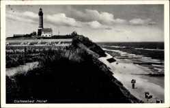 Ak Horst Westpommern, Leuchtturm, Heubündel, Strand, Meer