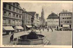 Postcard Reutlingen in Baden Württemberg, Marktplatz mit Wilhelmstraße, F. Heid