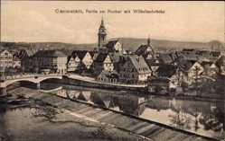 Postcard Cannstadt Stuttgart in Baden Württemberg, Partie am Neckar mit Wilhelmsbrücke