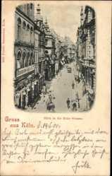 Postcard Köln am Rhein, Blick in die Hohe Straße, Passanten, Geschäft Haasenstein