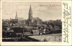 Postcard Mönchengladbach in Nordrhein Westfalen, Teilansicht, Kirche, Platz