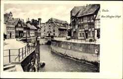 Postcard Stade in Niedersachsen, Am Wasser West, Flusspartie, Fachwerkbauten